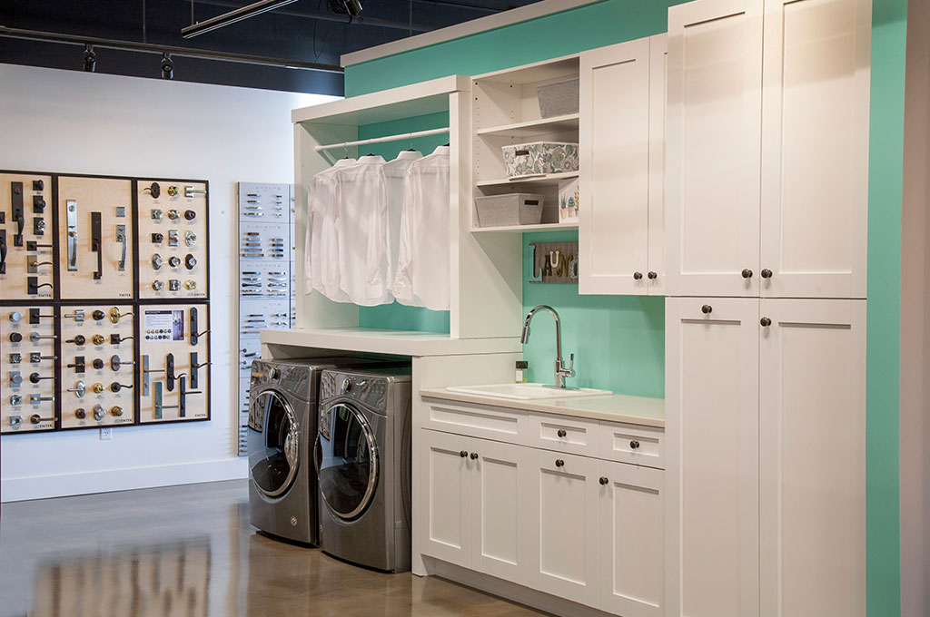 Showroom Tour – White cabinetry shown in laundry room